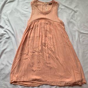 Tobi Light Peach Swing Dress W/ Detailed Trim